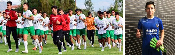 Alejandro Torres in a training with the Bolivian U-20's squad (left) and wearing his CE Sabadell t-shirt (right).