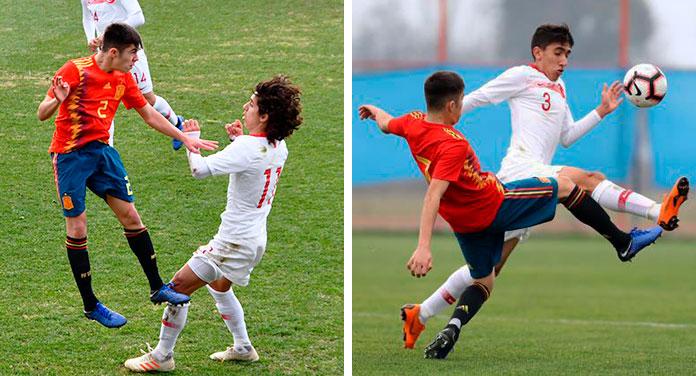 Ferran Ruiz en dos acciones de un partido que disputó con la Selección contra Turquía.