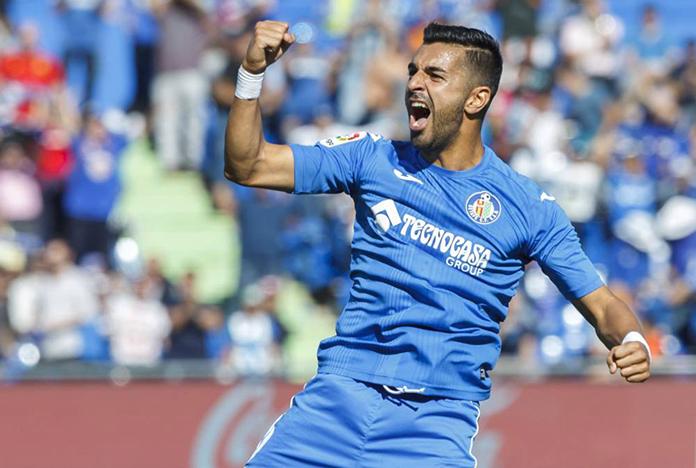 Ángel celebra un gol marcado con el Getafe.